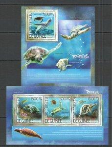 ST768 2014 GUINEA FAUNA REPTILES MARINE LIFE SEA TURTLES KB+BL MNH STAMPS