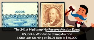 The 241st HipStamp No Reserve Auction Event