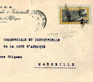 French Cols TOGO Cover LE HAVRE *PAQUEBOT* Cancel Postmark MARITIME 1930 F31a