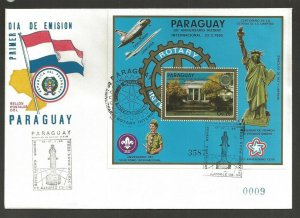 1985 Scouts Paraguay Rotary statue Liberty SS FDC