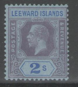 LEEWARD ISLANDS SG74 1922 2/= PURPLE & BLUE/BLUE MTD MINT