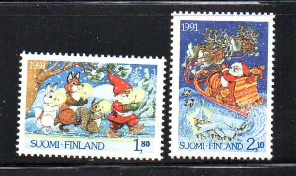 Finland Sc 874-5 1991 Christmas stamp set mint NH