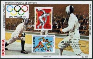 Bolivia C301 note 2 sheet.Mi Bl.135,MNH. Olympics Los Angeles-1984.Fencing.