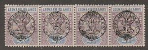 LEEWARD ISLAANDS #11 STRIP OF FOUR MINT NEVER HINGED