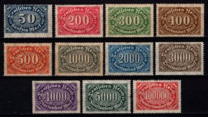 Germany 1922 Weimar Republic Definitives, Part Set (excl. 100m) [Unused]
