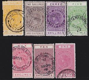 NEW ZEALAND 1880 Stamp Duty 7 values 2/6 to £1 used.........................4761