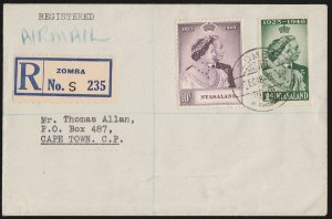 NYASALAND 1948 KGVI Silver Wedding reg airmail First Day Cover To South Africa.