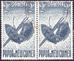 PAPUA NEW GUIANA 1952 KGV 2/- Horizontal Joined Pair Indigo SG12 FU