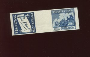 1937 4c Costa Rica and Cuba Imperf Blue Plate Proof Se-Tenant Gutter Pair