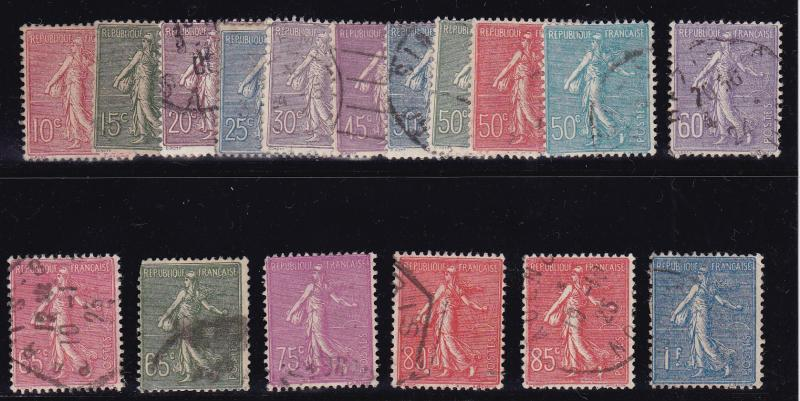 France 1903-38 SOWER Issue Complete (17) in Fine/VF/Used(0) Condition