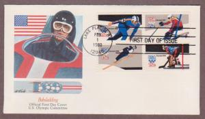 US # 1795 - # 1798 13th Winter Olympic Games on 1 Fleetwood FDC - I Combine S/H