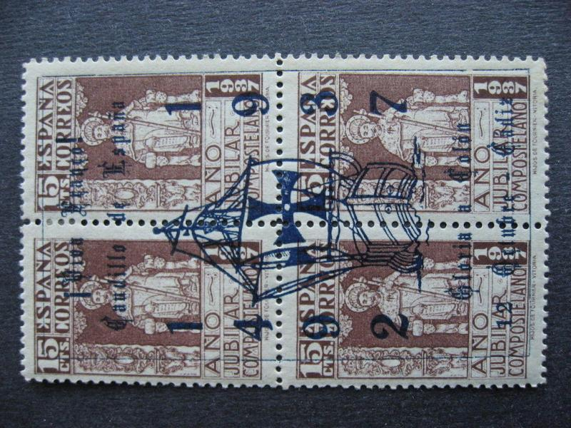 SPAIN 625 MH block with interesting 1492-1937 overprint! Check it out!