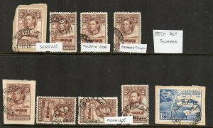 Bechuanaland: 1938-49 postmark group (9)
