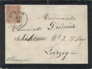 Germany 10pf Imperial Eagle Pfennige 1879 Sennheim to Leipzig.  Mourning Cove...