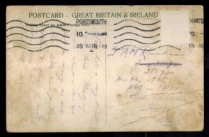 1918 Portsmouth to RAF 1 OBS SAG Hythe Aereodrome England Postcard Cover WW 1