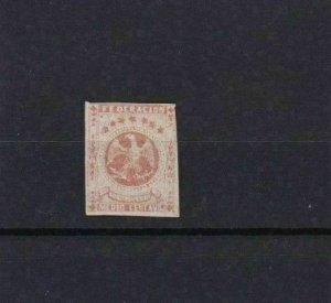 VENEZUELA 1863 IMPERF STAMP MOUNTED MINT ½ REAL RED CAT £55   REF 6257
