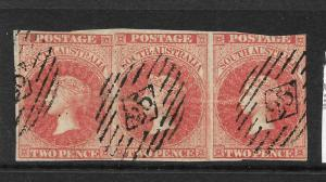 SOUTH AUSTRALIA 1855  2d   ROSE CARMINE QV STRIP 3  FU   SG 2