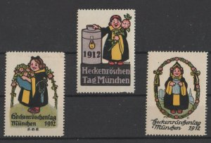 Germany Lot of 3 Rose Hedges Fair Poster Stamps Munich 1912, 1-NG, 2-MNH