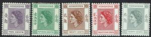 HONG KONG 1954 QEII 10C - 30C MNH **