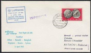 GREECE 1965 Lufthansa first flight cover to Pakistan........................H274