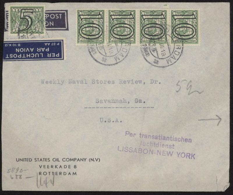 Netherlands 227 & 229 strip of 4 on 1944 WWII censored cover w