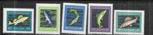 Poland #810-814 Fish  (MNH)  CV $5.40