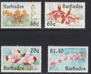 Barbados # 826-829, Orchids, NH, 1/2 Cat