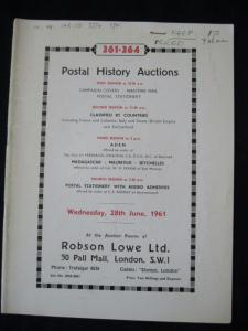 R L POSTAL HISTORY AUCTION CATALOGUE 1961 with CAMPAIGN MARITIME STATIONERY ETC