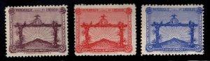 Uruguay Scott 388-390 MH* 1924-1928  Olympic Soccer Champions stamp set