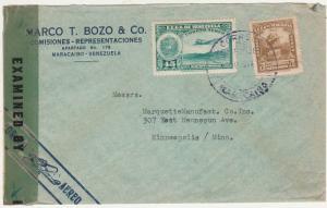 VENEZUELA 1944 AIRMAIL CENSOR COVER TO USA