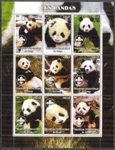 Congo 2004 Pandas Sheet of 9 MNH Cinderella !