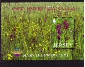Jersey Sc 1084a 2003 Wild Orchids stamp souvenir sheet mint NH Bangkok
