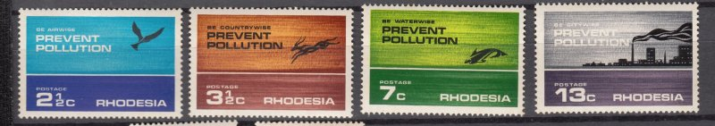 J27455 1972 rhodesia mnh set #314-7 pollution