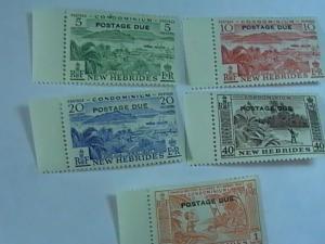 NEW HEBRIDES # J16-J20-MINT/NEVER HINGED-COMPLETE SET-POSTAGE DUE---QEII---1953