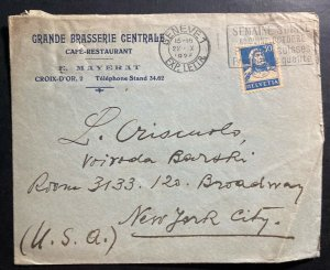 1925 Geneva Switzerland Commercial Slogan Cancel Cover To New York Usa