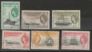 FALKLAND DEPENDENCIES 1954 QEII SHIP RANGE TO 2/- USED