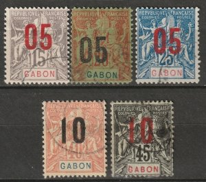 Gabon 1912 Sc 74-6,78-9 partial set used