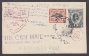 Tonga Sc 40, 54 on 1937 Tin Can Canoe Mail cover to New Zealand, 14 cachets
