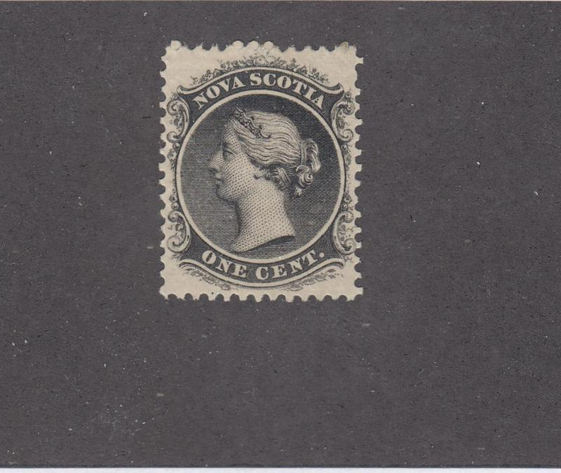 NOVA SCOTIA # 8 FVF-MH  1cts QUEEN VICTORIA BLACK CAT VALUE $15