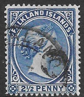 Falklands 15  1894   2 1/2 penny  fine used