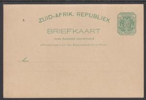 Transvaal H&G 5 mint 1896 ½p Postal Reply Double Card, VF