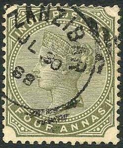 Zanzibar SGZ69 4a Olive-green Z5 Squared Circle dated 30th July 1888