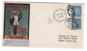 US 1932 Olympic Village Cachet Summer Opening Day Cover 719