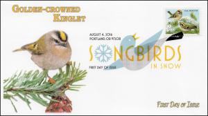 2016, Songbirds in Snow, Golden -crowned Kinglet, DCP, FDC, 16-246