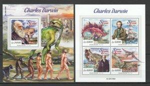ST540 2015 SIERRA LEONE PREHISTORIC FAUNA DARWIN DINOSAURS 1KB+1BL MNH STAMPS