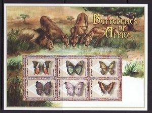 Zambia, Scott cat. 863 a-f. Butterflies sheet. ^