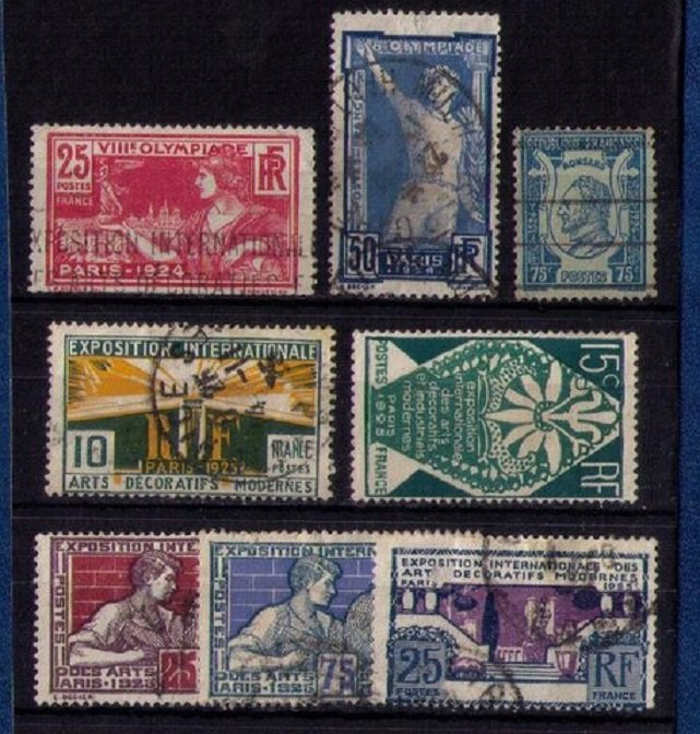 FRANCE 1924-1925 Used Sc 199-224 Not A Complete Set F-VF (Lot Of Eight):