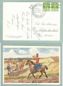 Denmark. Postcard 1938. Agri. Exhibition.Spc.Cancel With Post Rider.2 x 5Ore.