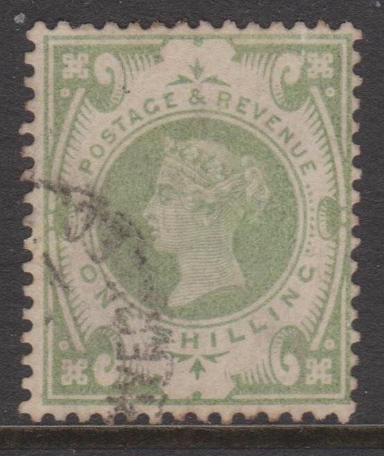 Great Britain 1887 QV 1 Shilling Green Sc#122 F Used