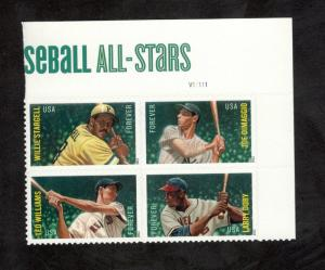 4694-4697B Baseball All-Stars Top Plate Block Mint/nh FREE SHIPPING
